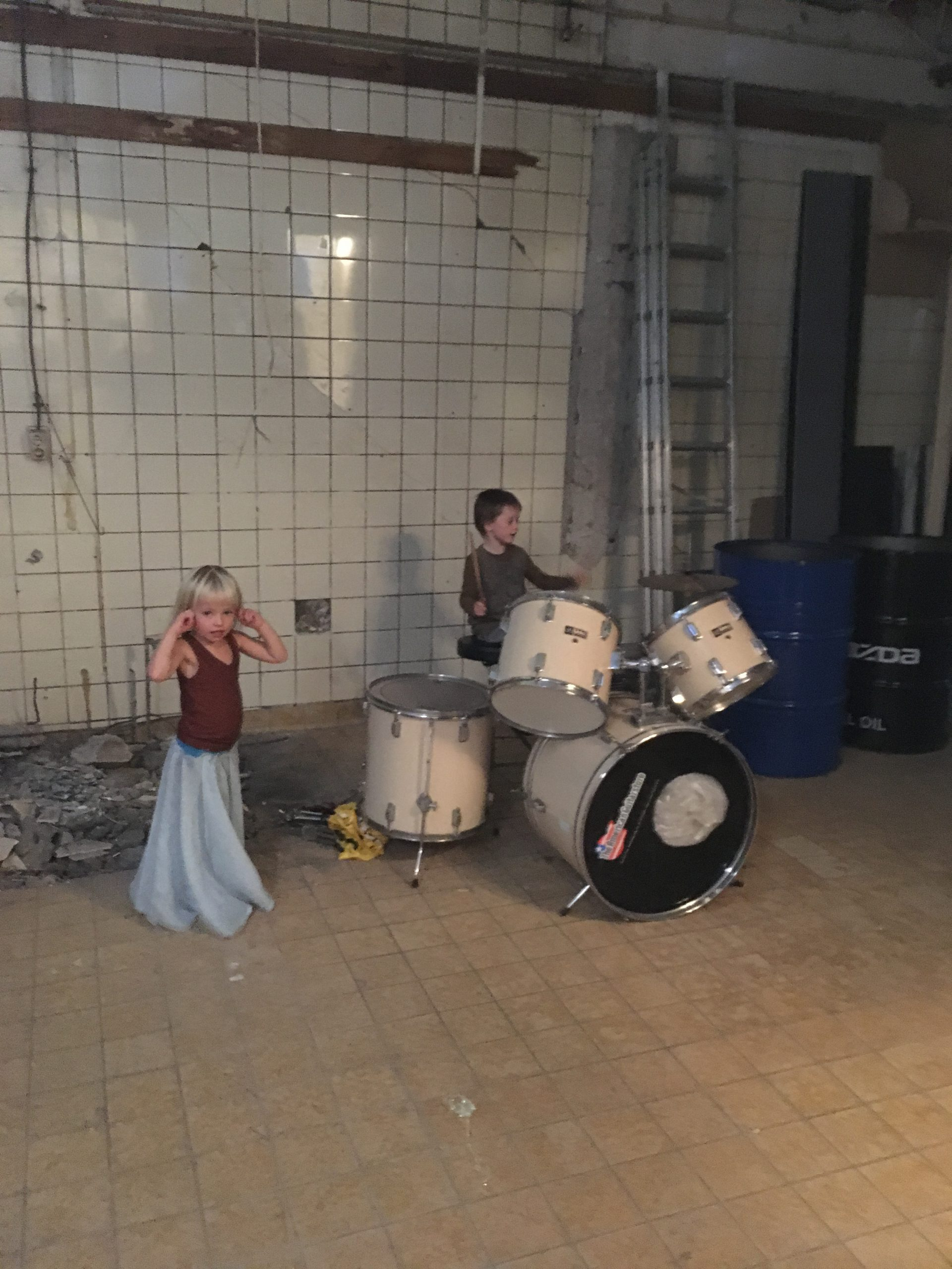 Former garage turned into music room.